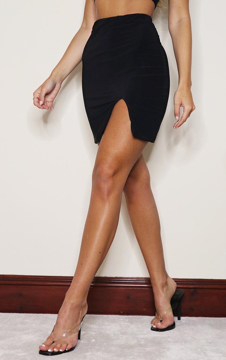 Black Slinky Slit Hem Mini Skirt 2