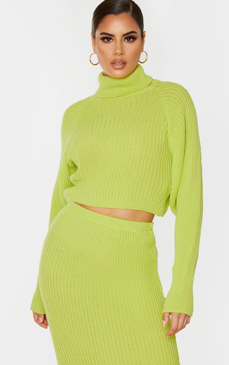 Tall Neon Green Roll Neck Cropped Knitted Jumper 1