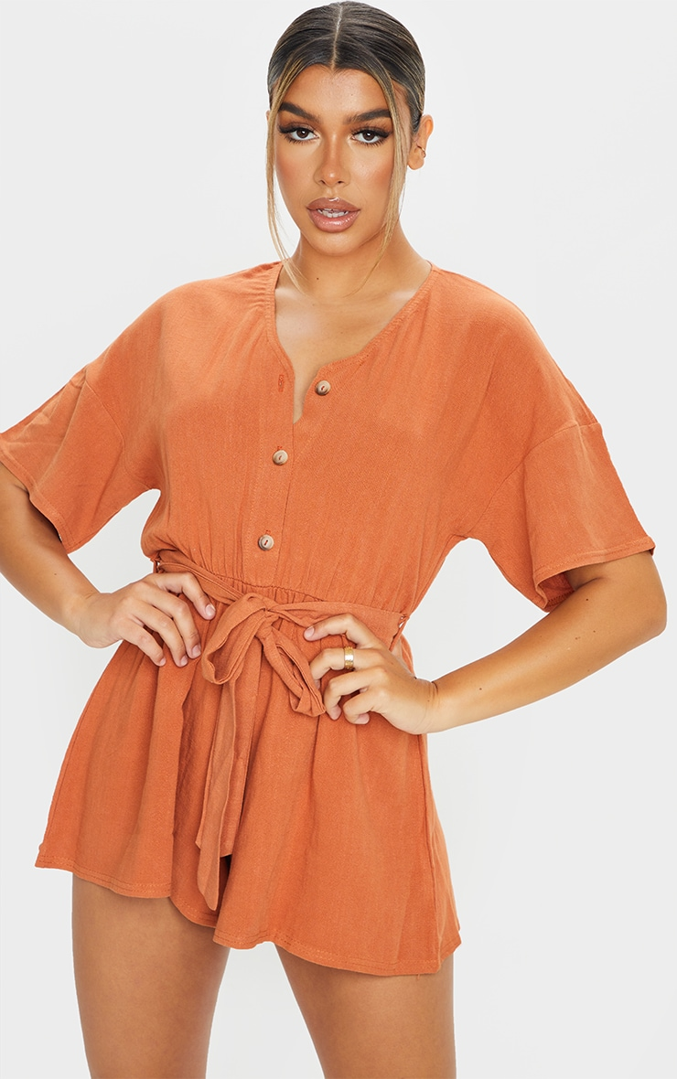 Rust Woven V Neck Short Sleeve Button Up Romper 3