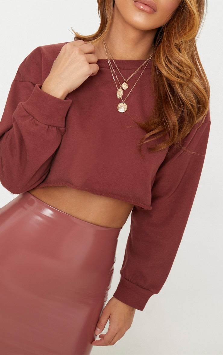 Petite Brown Cropped Sweater 4