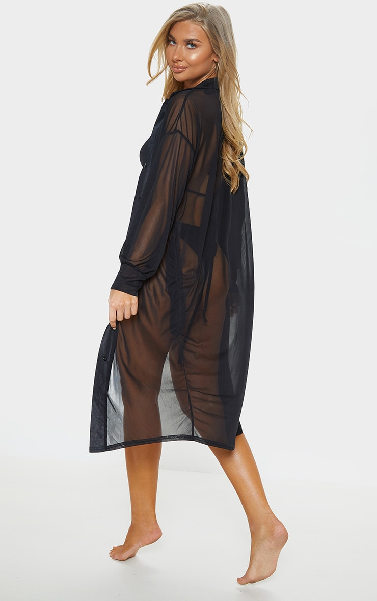 Black Oversized Beach Shirt Dress 2