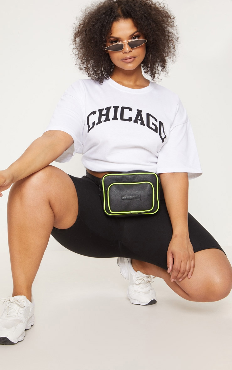 Plus White Chicago Slogan T Shirt 1