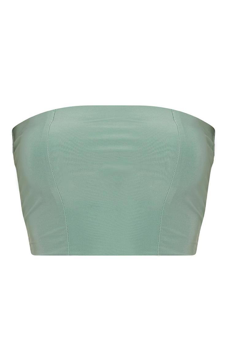 Helsa Green Sage Slinky Bandeau Crop Top 3