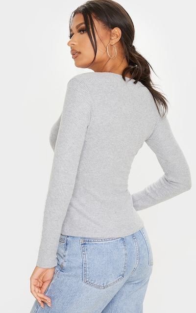 Grey Brushed Rib Plunge Long Sleeve Top