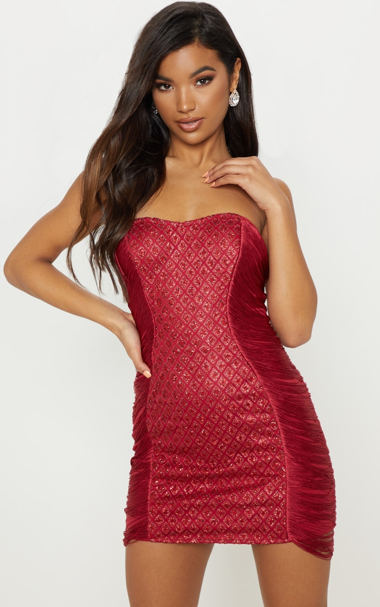 Burgundy Bandeau Glitter Tassel Bodycon Dress 1