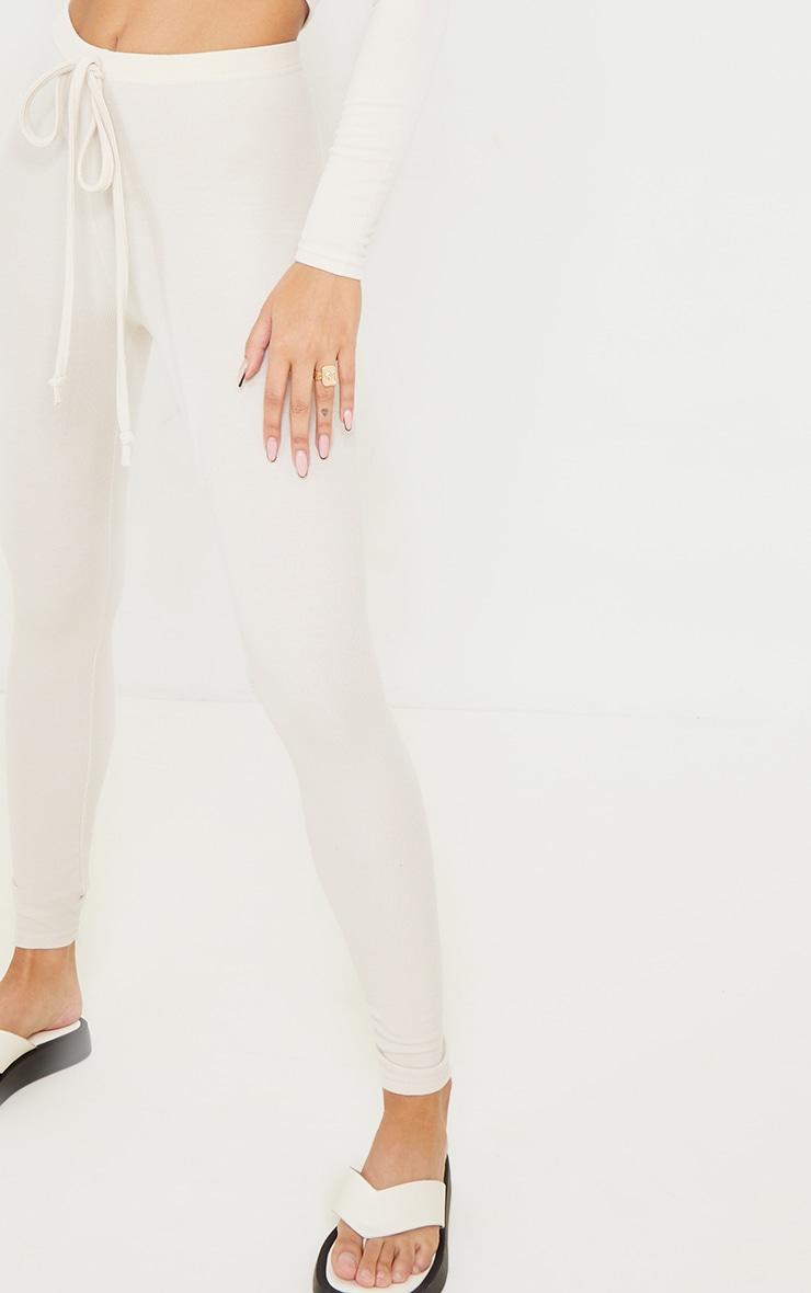 Cream Ribbed Tie Waist Leggings 4