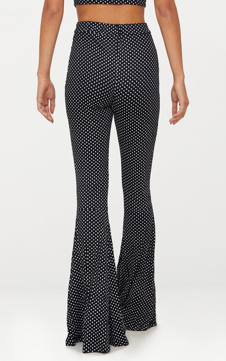 Black Polka Dot Flared Leg Trousers 4