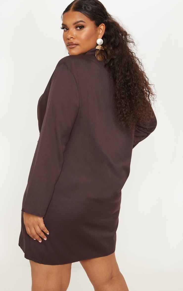 Plus Chocolate Brown Oversized Blazer Dress 2