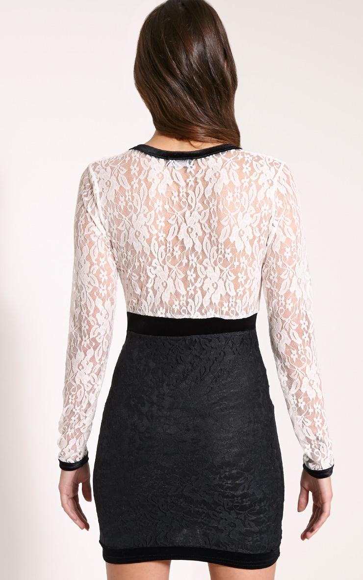 Rikaya Monochrome Plunge Lace Mini Dress 2