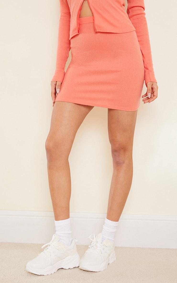Dark Peach Soft Brushed Rib Mini Skirt 2