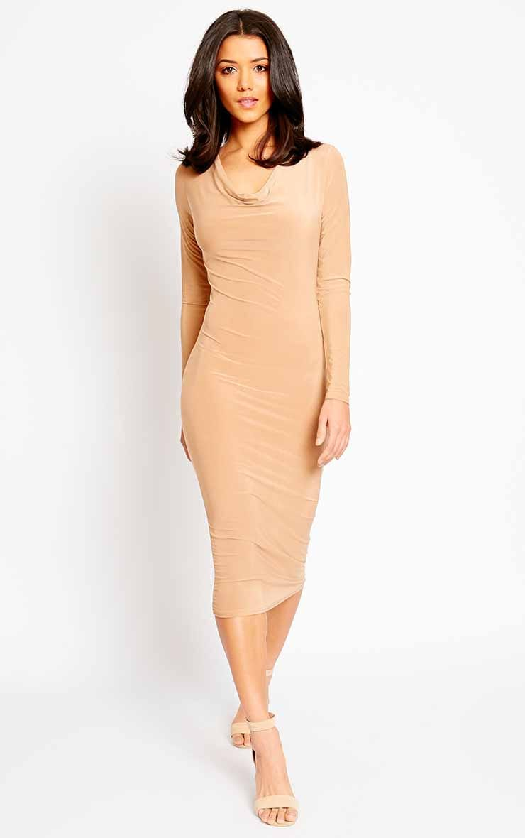 Ziva Camel Slinky Cowl Neck Midi Dress 4