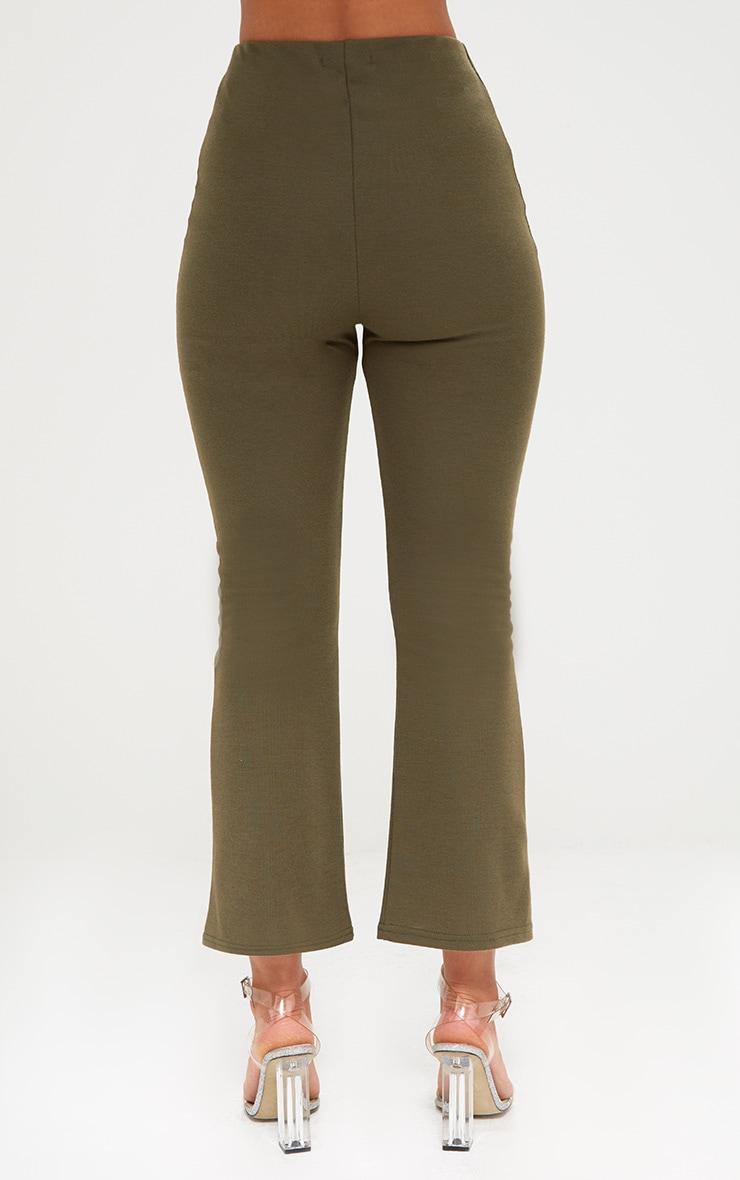 Khaki Kick Flare Cropped Trousers 3
