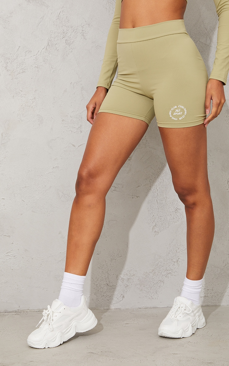 PRETTYLITTLETHING Olive Sport Cool Down Ruched Bum Cycle Shorts 2