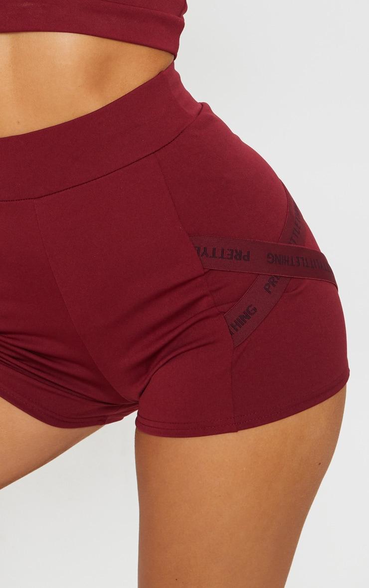 PRETTYLITTLETHING Berry Sport Booty Shorts 5