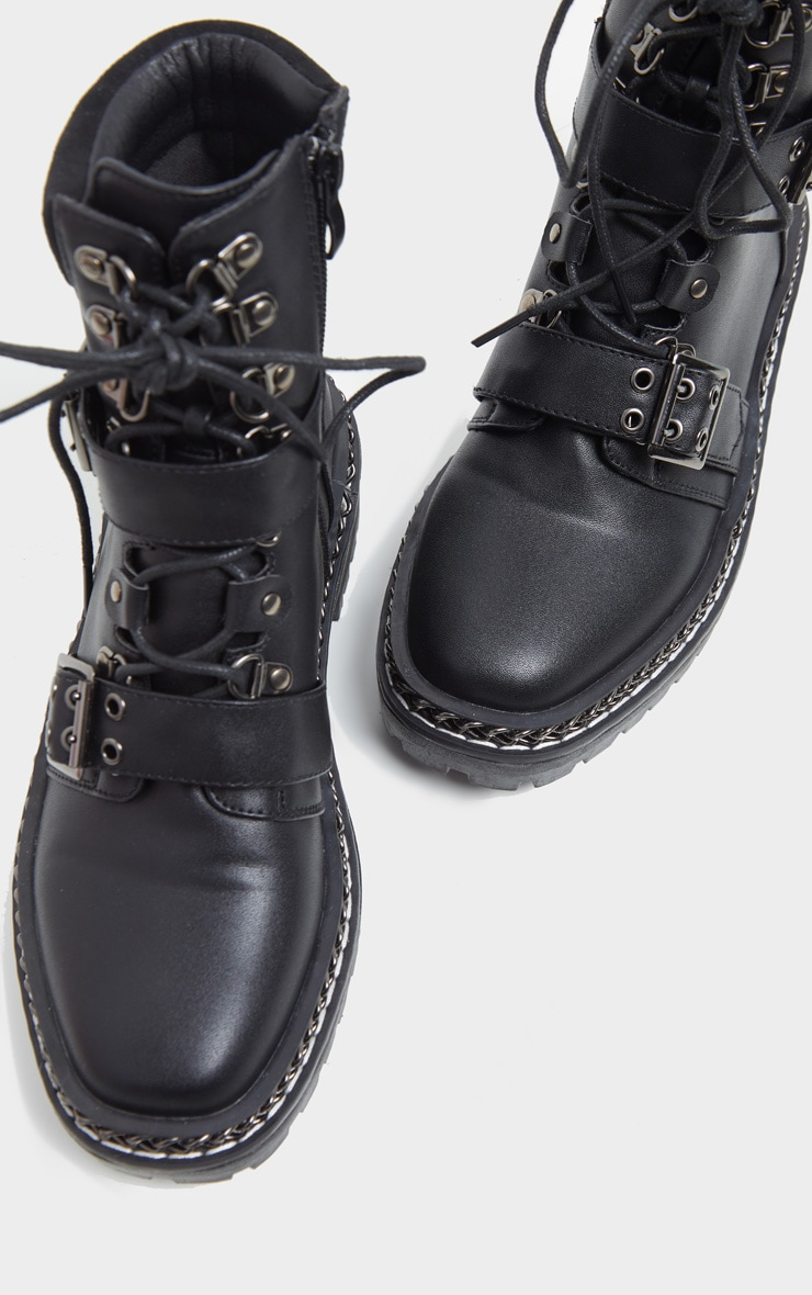 Black Chain Sole Clasp Buckle Lace Up Hiker Boot 3