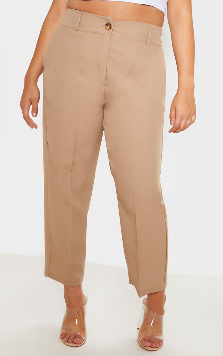 Plus Camel Woven Tapered Pants  2