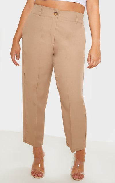 Plus Camel Woven Tapered Trouser