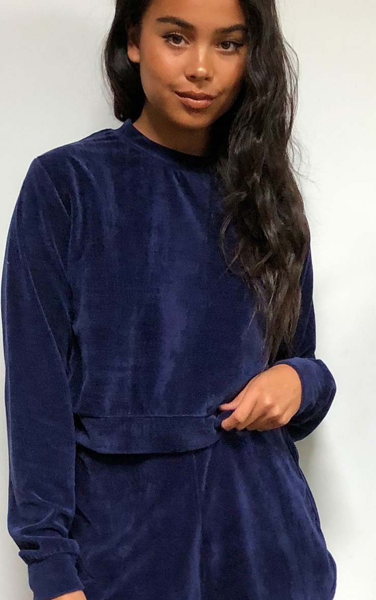 Navy Towelling Cropped Sweater 4