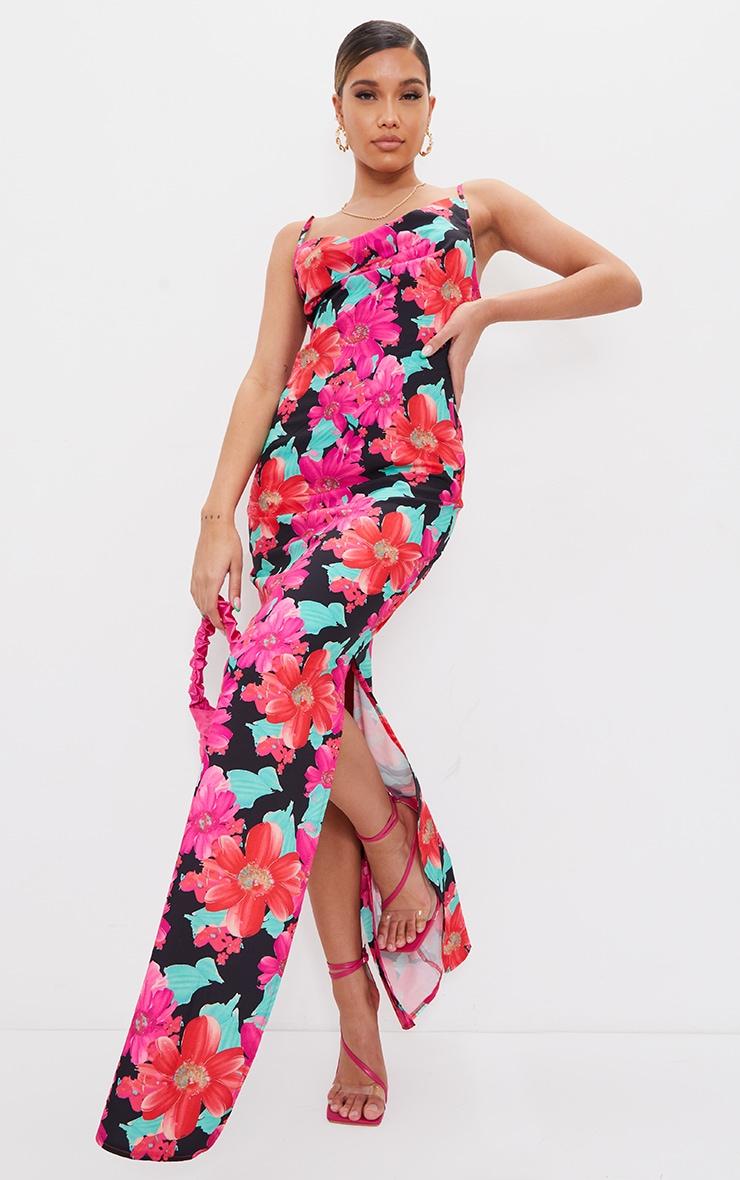 Multi Floral Print Cowl Neck Strappy Maxi Dress 1