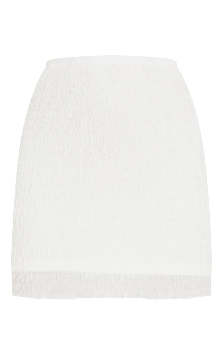White Textured Shirred Mini Skirt 6