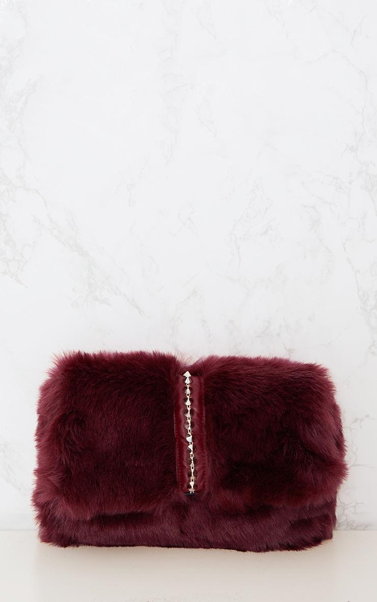 Burgundy Studded Faux Fur Foldover Clutch 3