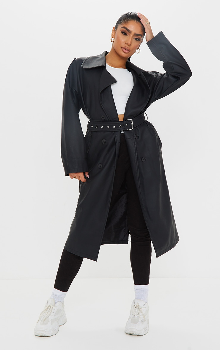 Black Faux Leather Drop Arm Midi Trench 1