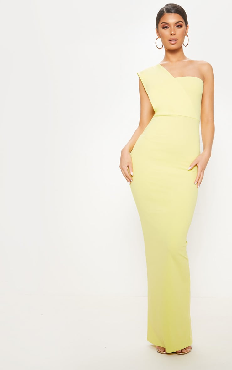 Light Lime One Shoulder Maxi Dress  by Prettylittlething