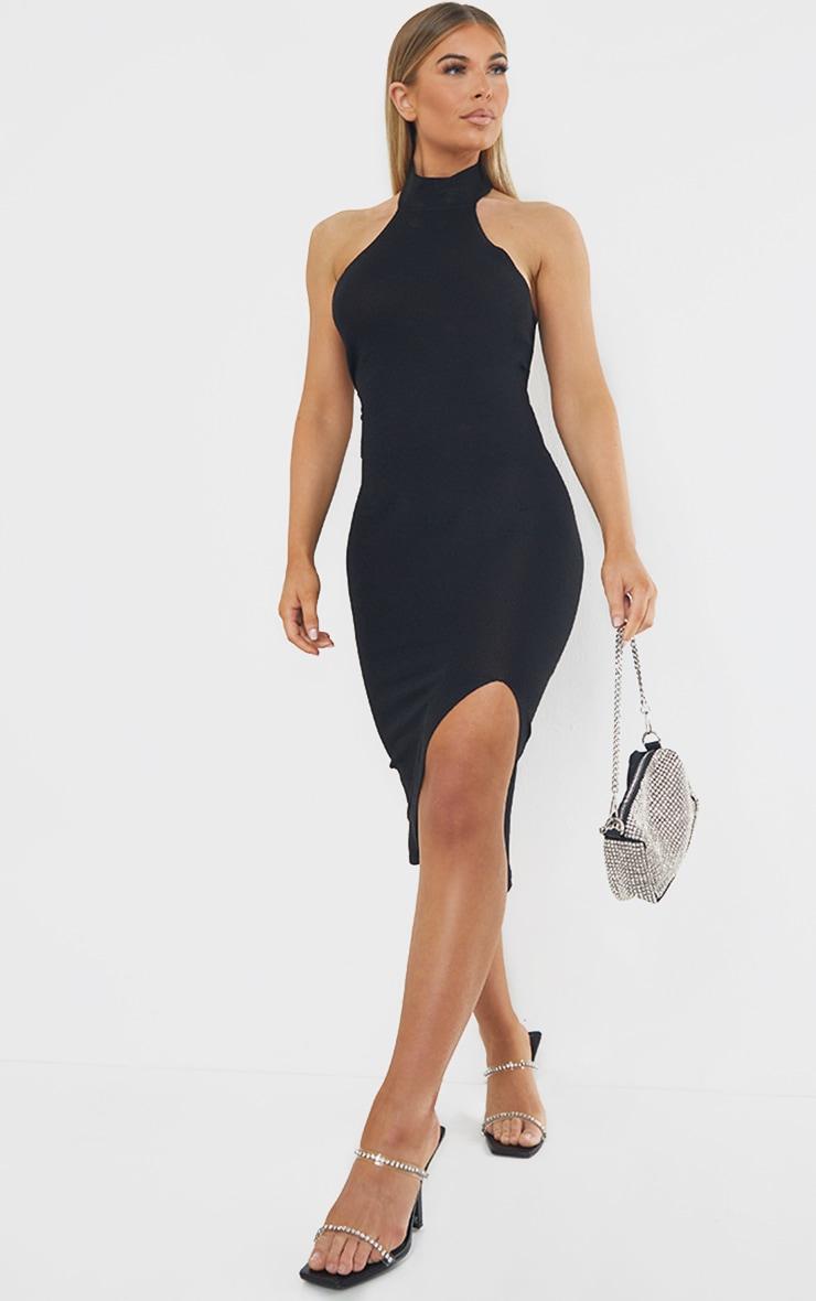 Black Premium Knit Choker Detail Split Front Glitter Midi Dress 3