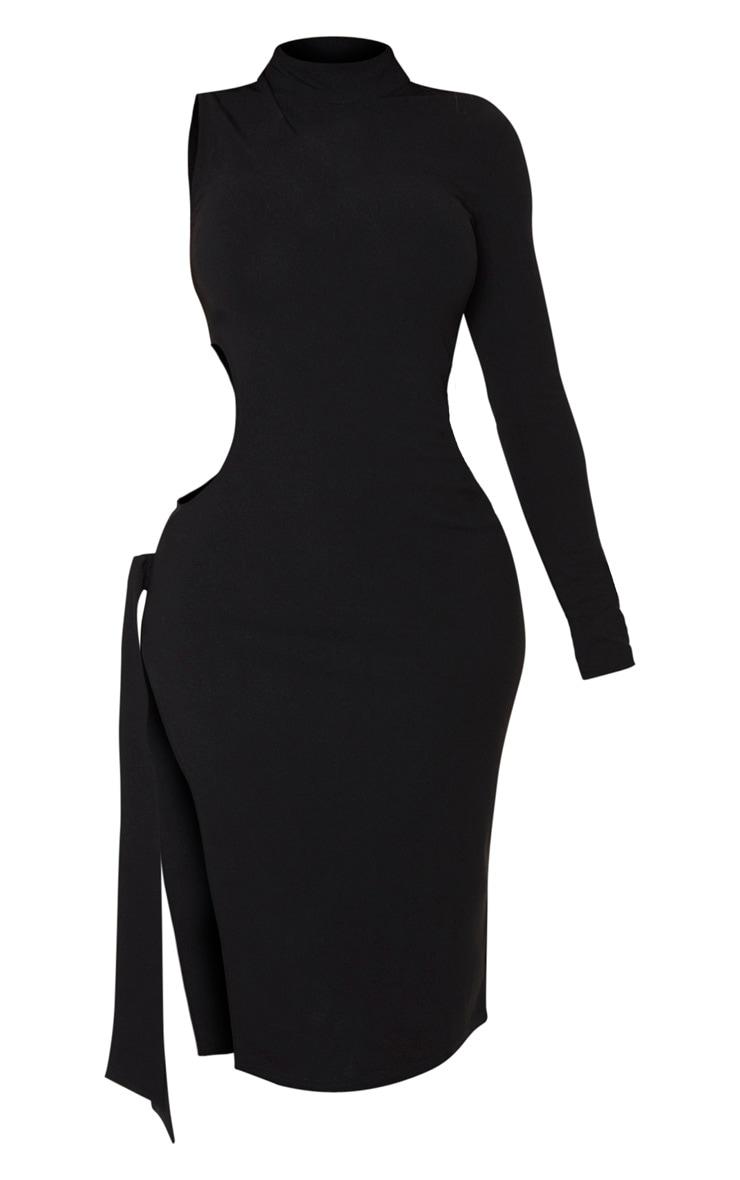 Shape Black One Sleeved Cut Out Tie Side Midi Dress 5