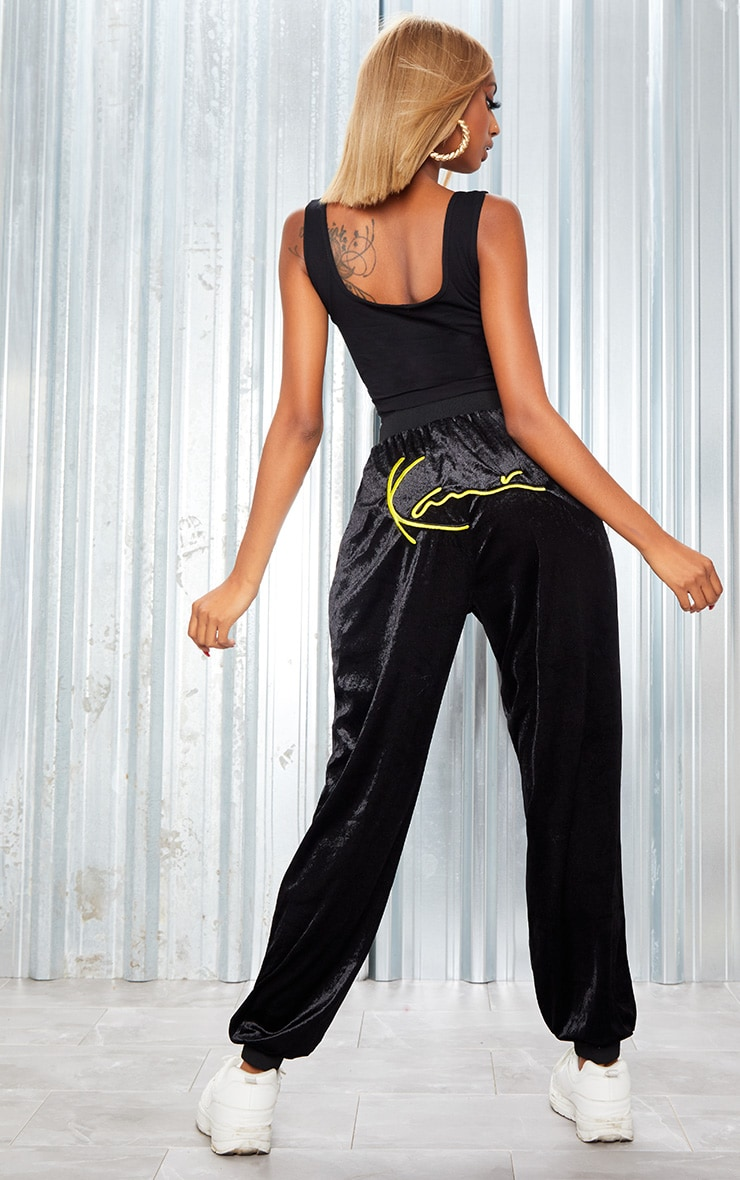 KARL KANI Black Velour Embroidered Joggers 3
