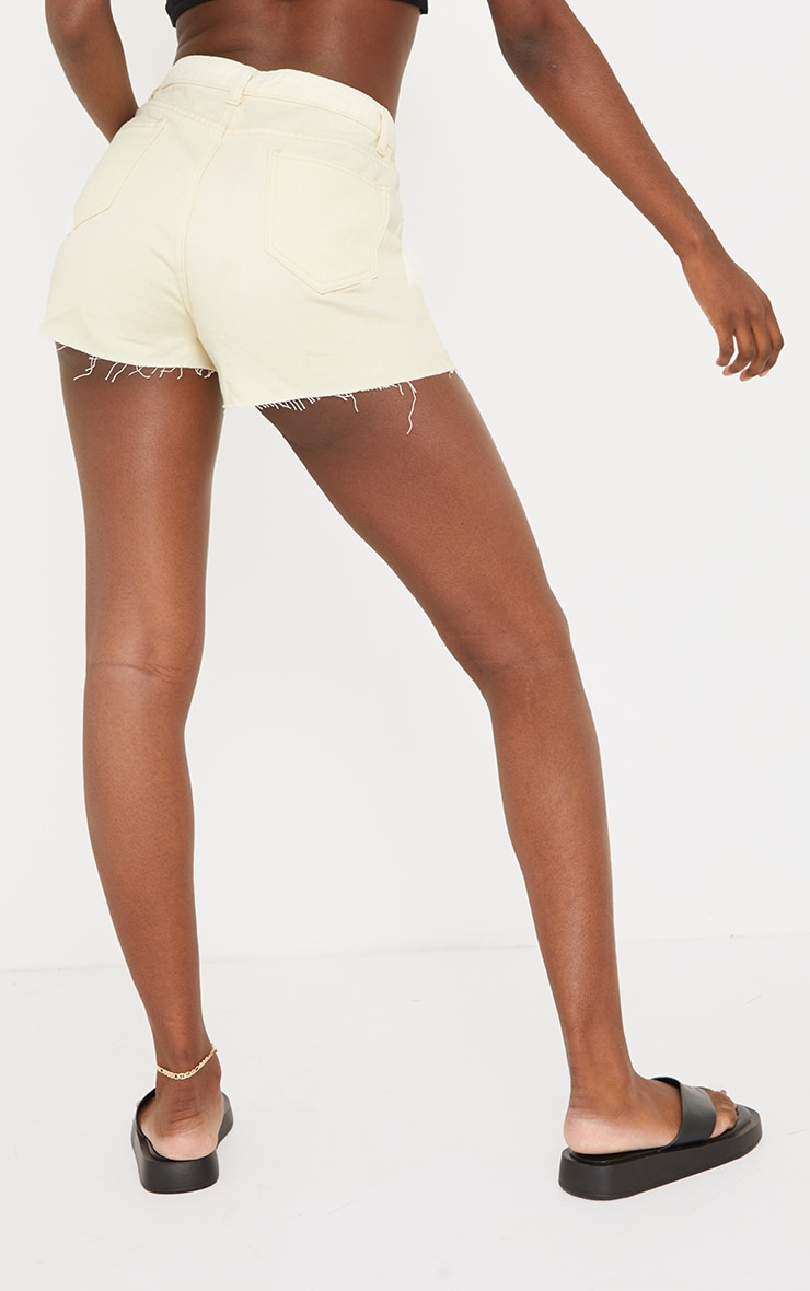 Tall Ecru Ripped Denim Mom Shorts 3