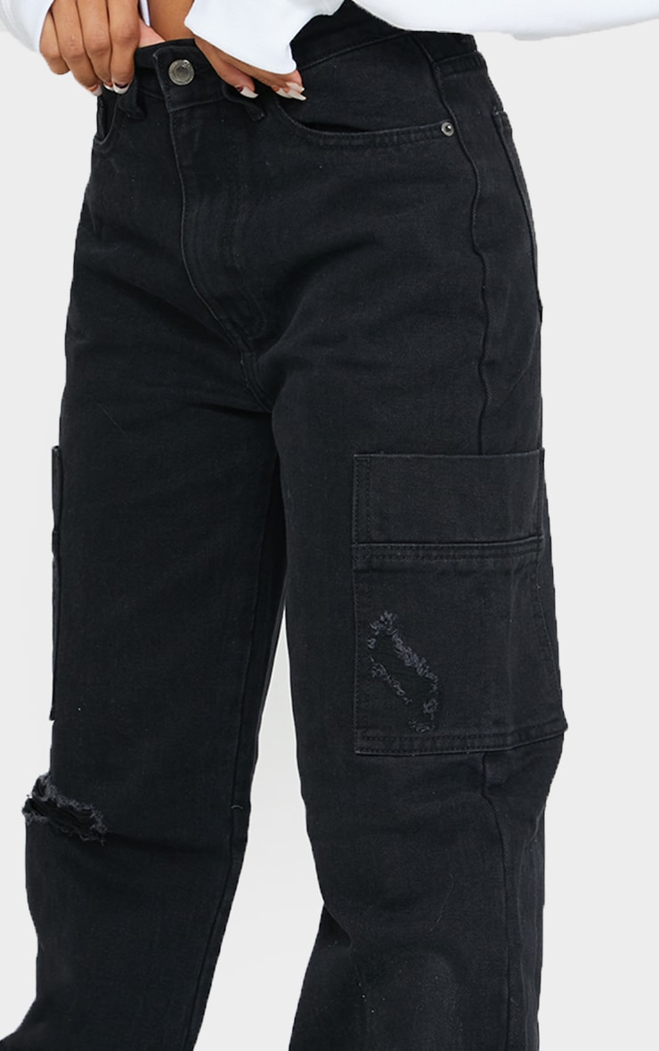 Washed Black Wide Leg Distressed Cargo Jeans 4