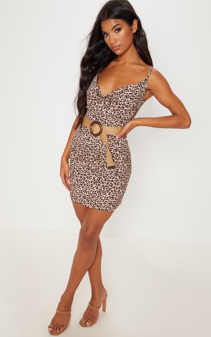 Tan Leopard Print Cowl Neck Bodycon Dress 4