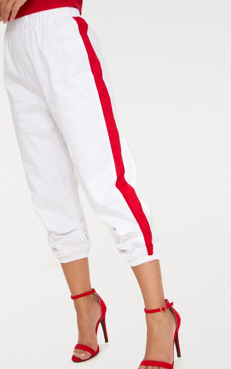 Petite White Cropped Contrast Stripe Cargo Trousers 5