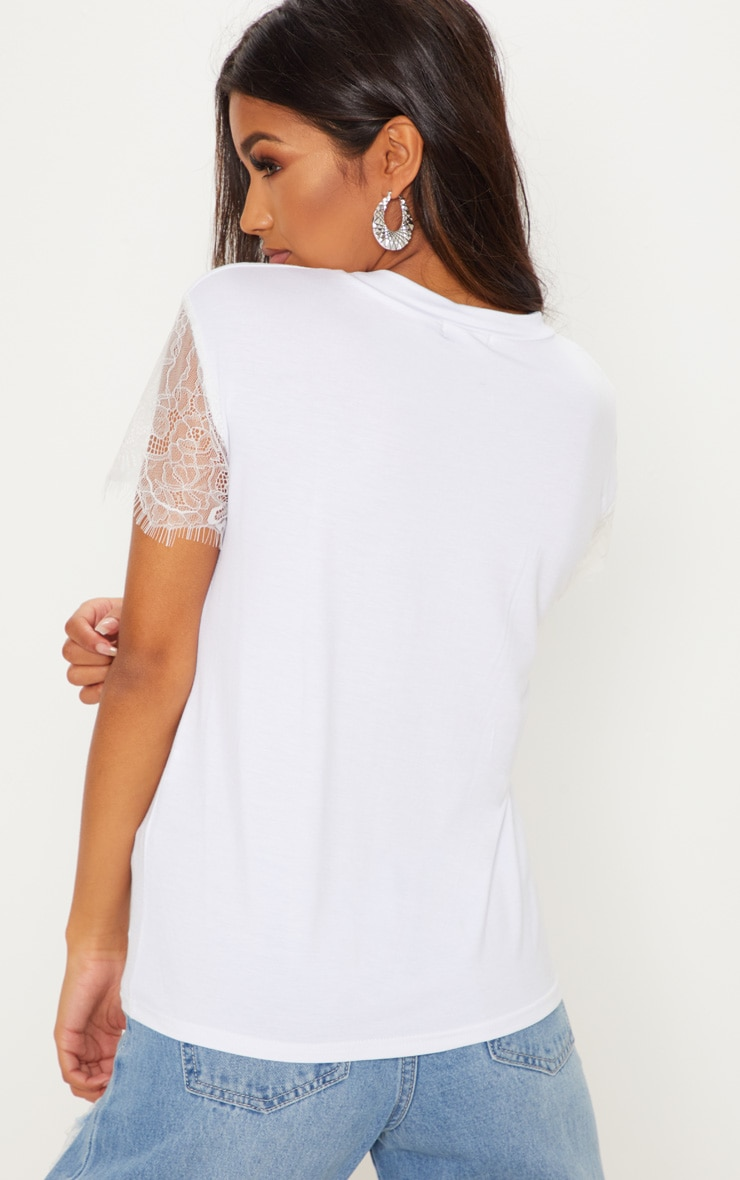 Rain White Eyelash Lace Sleeve Oversized T Shirt  2