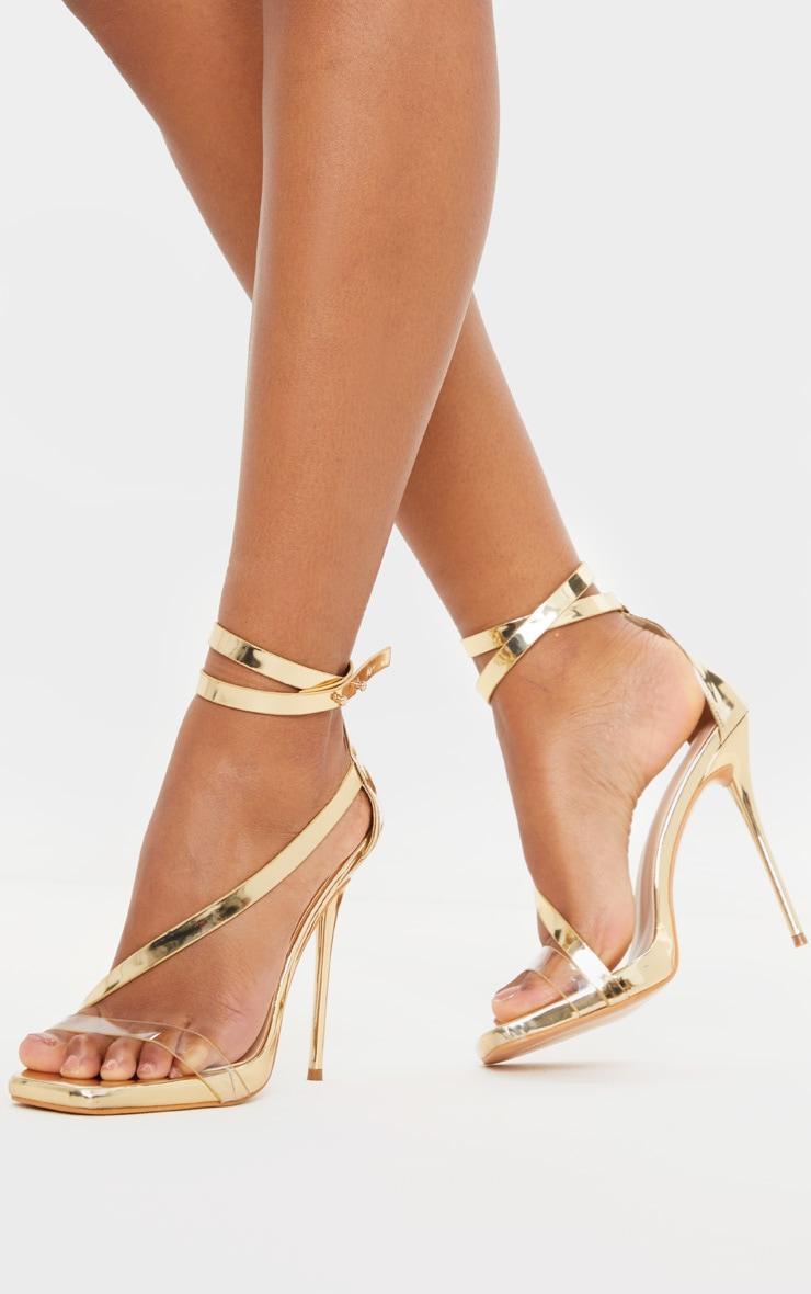Gold Square Toe Asymmetric Strap Sandal 1