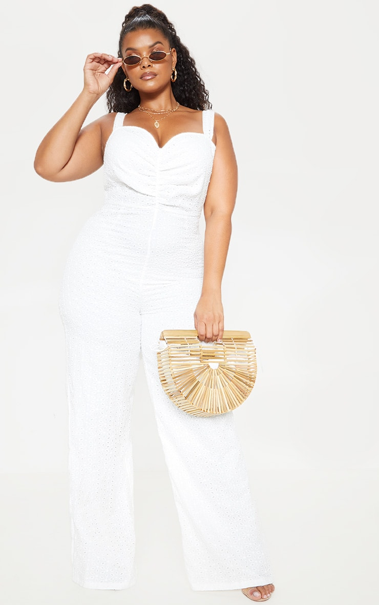Plus White Broderie Anglaise Wide Leg Jumpsuit 1