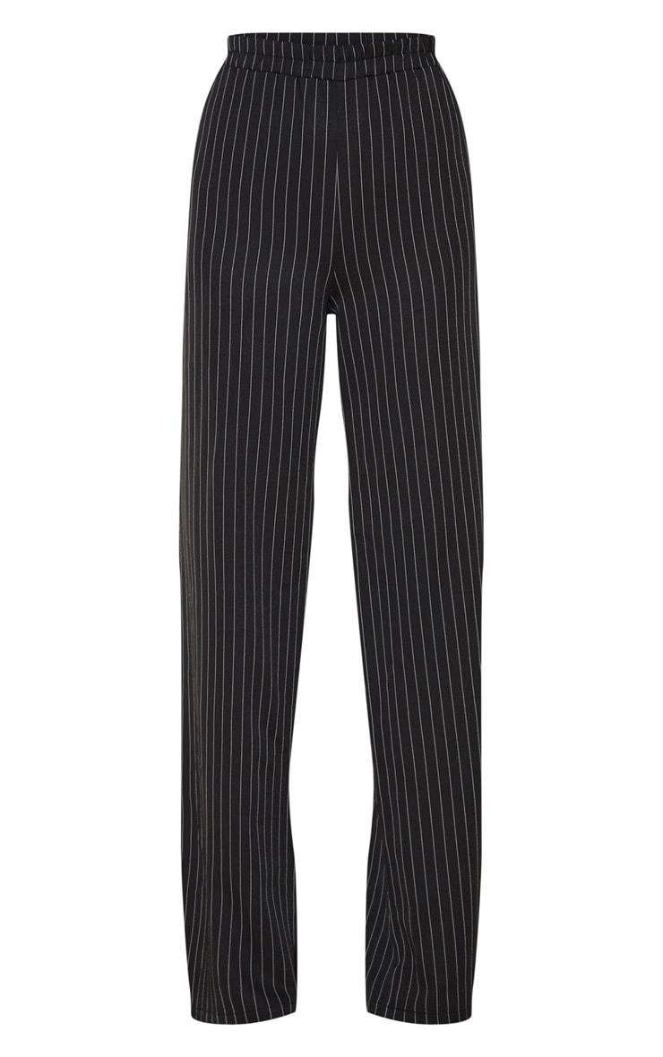 Tall Black Pinstripe Wide Leg Elasticated Flared Trouser 3