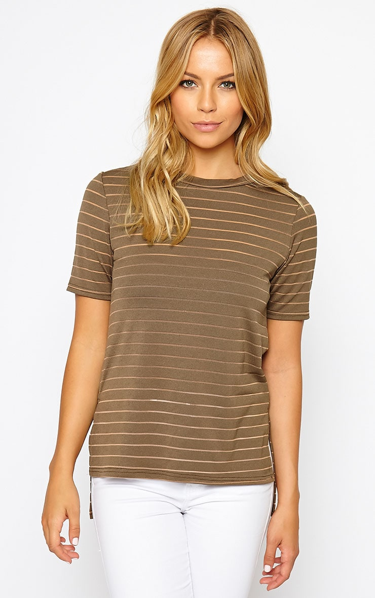 Elodie Khaki Stripe Burnout T-Shirt 4