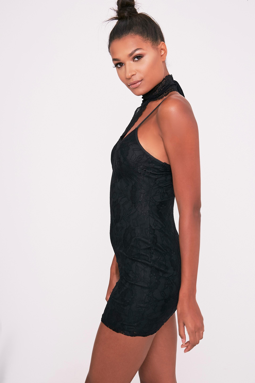 Victoria Black Choker Detail Lace Bodycon Dress 4