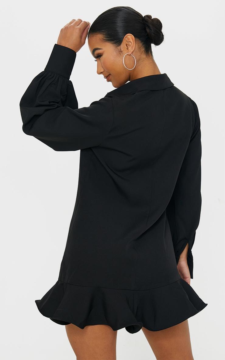 Black Frill Hem Shirt Dress 2