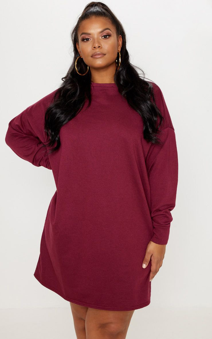 Plus Burgundy Oversized Sweater Dress 1