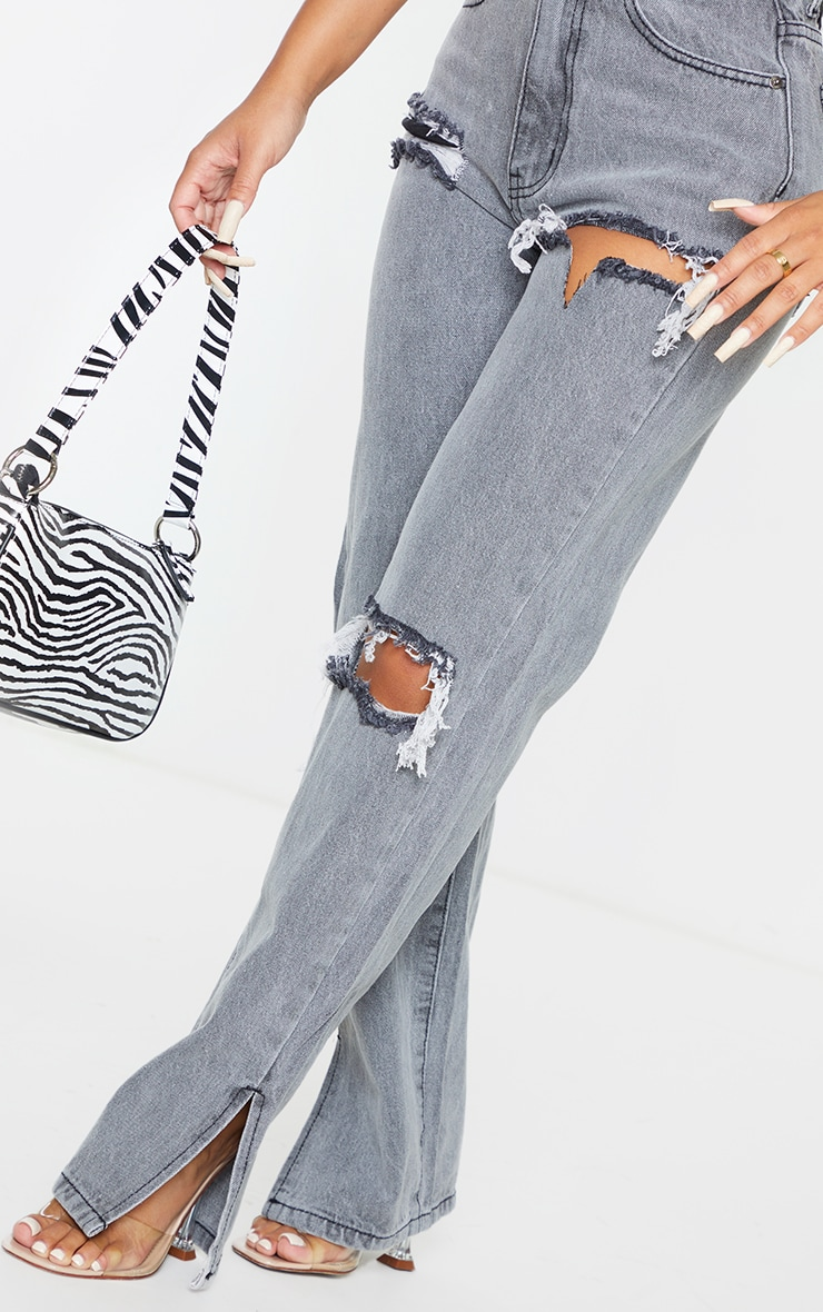 Petite Grey Ripped Split Hem Jeans 4