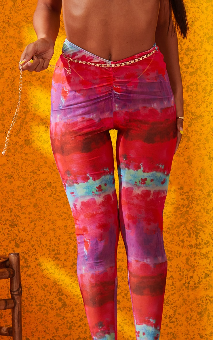 Multi Printed Ruched Front Leggings 5