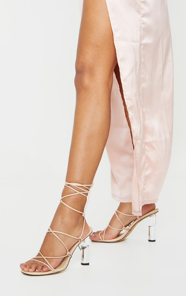 Nude Clear Cylinder Heel Ghillie Lace Up Sandal 2