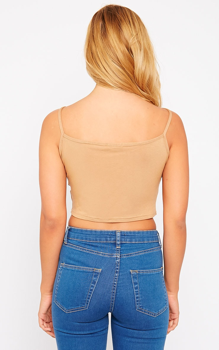 Basic Camel Racer Neck Crop Top 2