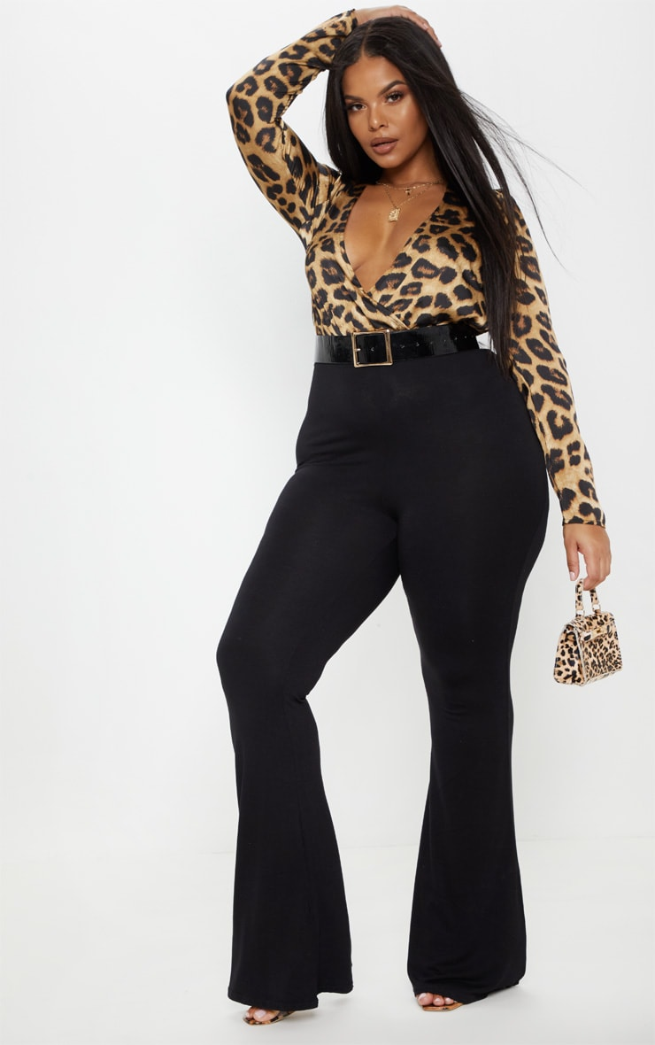 Plus Black Basic Flared Trousers 1