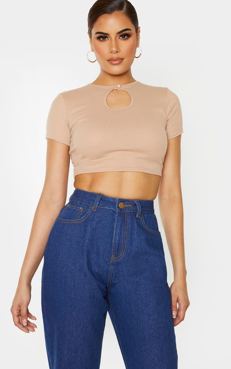 Tall Stone Ribbed Keyhole Crop Top 1