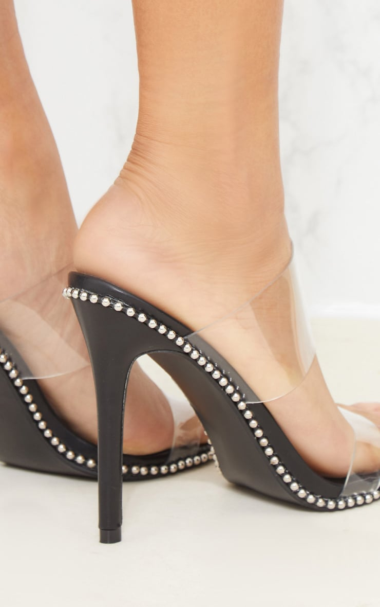 Black Studded Clear Mule 5