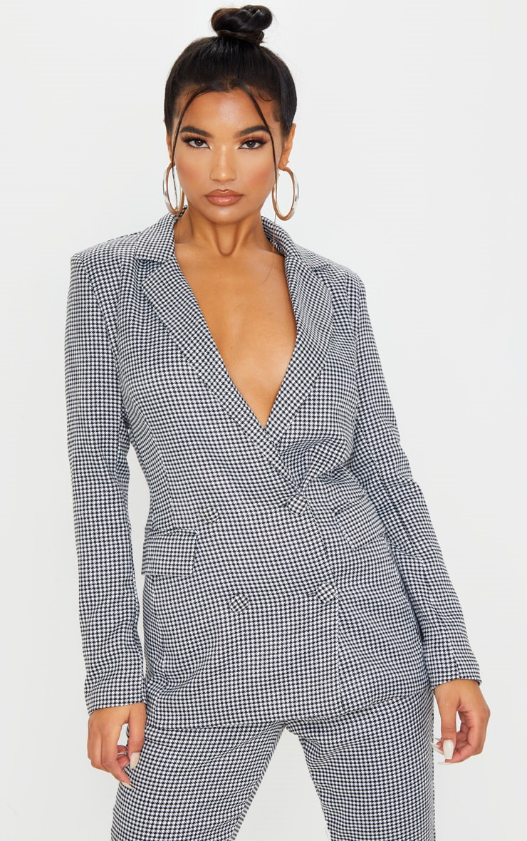 Dogtooth Pocket Front Double Breasted Blazer 1